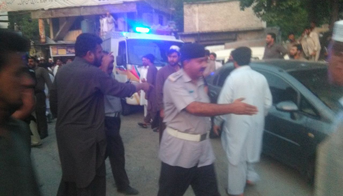 Police officials pictured at the site of the accident in Abbottabad. Photo: Geo News