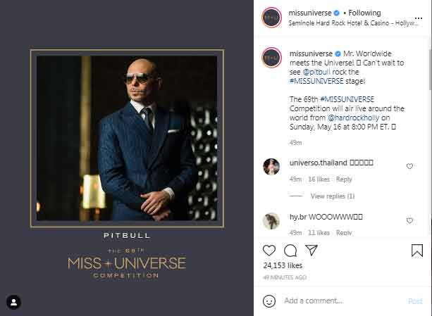 349191 5510679 updates Pitbull to perform at Miss Universe pageant on May 16