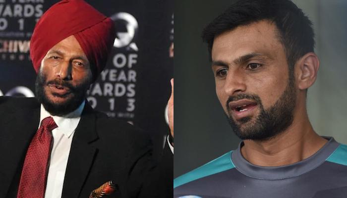 Milkha Singh (left) andShoaib Malik. — AFP/File