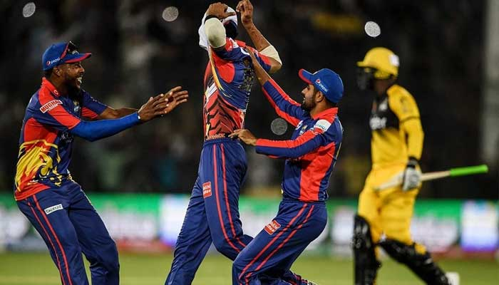 Karachi Kings teammates celebrate after dimssing a Peshawar Zalmi batsman. Photo: File