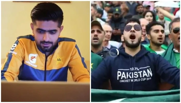 Pakistan skipper Babar Azam writes on his laptop (L) and Pakistani fans cheering at a stadium in UK (R). Photo: PCB video screengrab