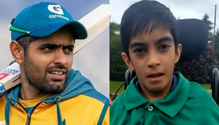 Pakistani cricket team skipper Babar Azam (left) and thedifferently-abled fan from England,Muhammad Akhil. — AFP/File, Twitter/File