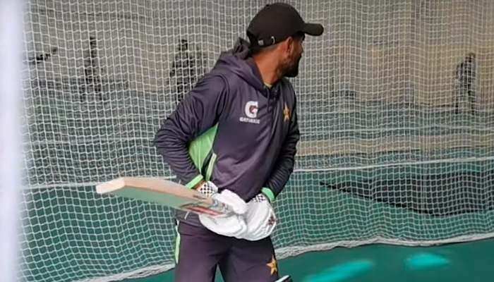 Pakistan cricket captain Babar Azam bats during the practice session at Cardiff. Photo: PCB YouTube