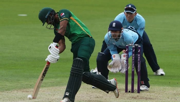 Pakistans Hasan Ali plays a shot during the first One Day International cricket match between England and Pakistan at Sophia Gardens stadium in Cardiff, Wales on July 8, 2021. Photo: AFP