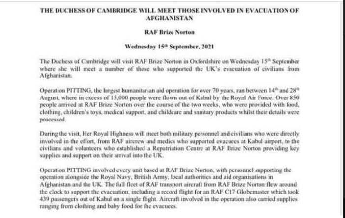 Kensington Palace gibt Erklärung zu Kate Middletons Besuch in der Royal Air Force Station ab