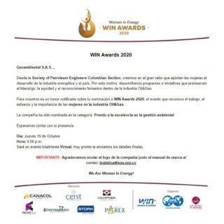 ¡Hemos sido nominados en la categoría: Premio a la excelencia en la gestión ambiental! 🍃💯  Nominación a WIN Awards 2020, el evento que reconoce el trabajo, el esfuerzo y la importancia de las mujeres en la industria Oil&Gas, Desde la Society of Petroleum Engineers Colombian Section. @specolombia