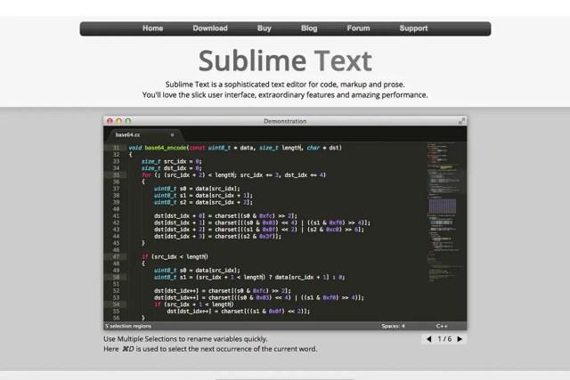 editor SublimeText (časopis GeoBusiness)
