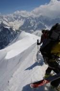 Skiers preparing to descend