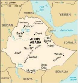 [Karte Abessiniens mit Nachbarstaaten am Horn von Afrika]