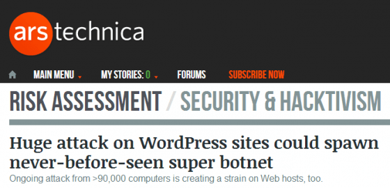Huge attack on WordPress sites could spawn never before seen super botnet   Ars Technica