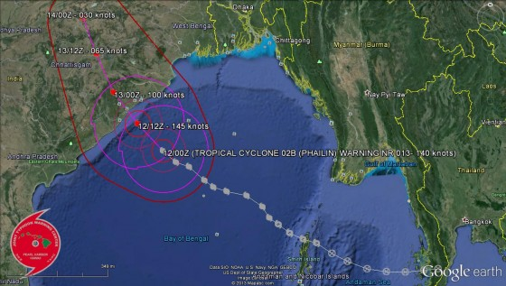 Cyclone Phailin full track