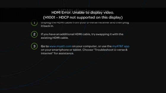 HDMI HDCP error message