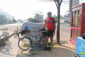 Geoff Jones with bicycle at the end of the 4 Rivers trail