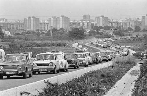 Vista de una carretera español en los años 60