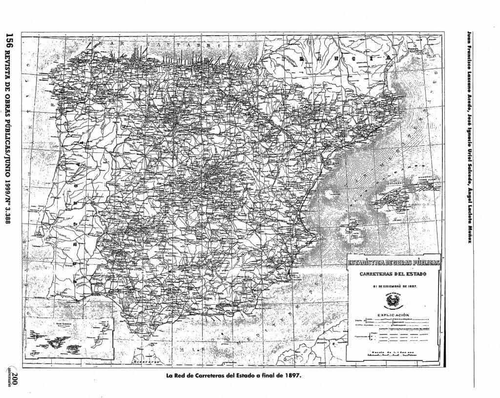 Las carreteras españolas en un mapa de 1897. Fuente.