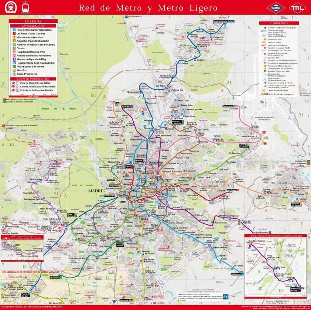 Mapa del metro de Madrid geográfico