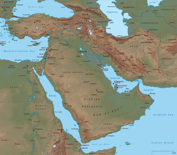 Middle East Map   Asia Middle East map