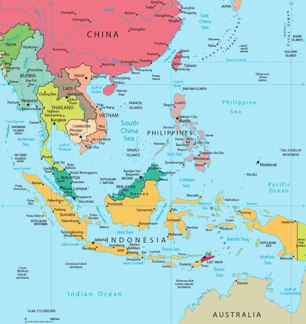 Map of Southeast Asia - Indonesia, Malaysia, Thailand
