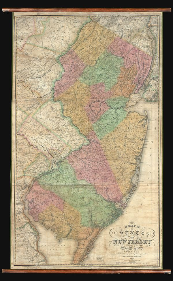 A Map of the State of New Jersey with part of the adjoining states     A Map of the State of New Jersey with part of the adjoining states compiled  under