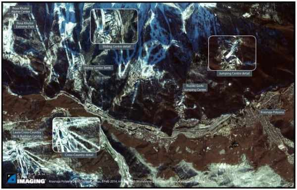 Satellite image of the Olympic venues in the Krasnaya Polyana Mountains. Source: European Space Imaging.