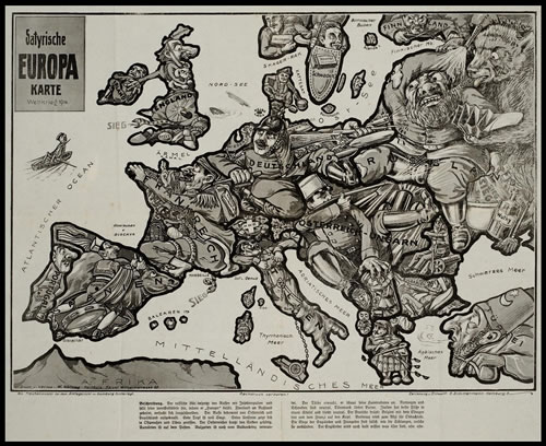 From Library of Congress: Print shows a map of Europe at the outbreak of the first World War with each country depicted as a human figure representative of the particular state of affairs or attitudes of the country, for instance, Germany is depicted as a soldier fighting with both Russia and France, while eyeing England. Published in 1914.