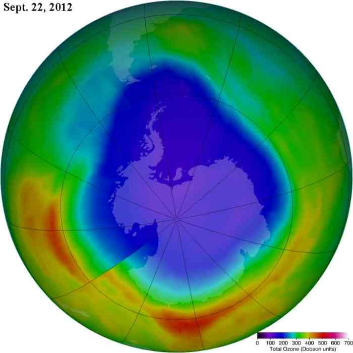 Antarctic Ozone Hole as of Sept. 22, 2012.  Source: NASA.