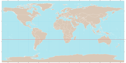On this map, the Tropic of Capricorn is marked with a red line.