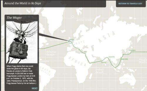Map showing the voyage described in Jules Verne's Around the World in 80 Days