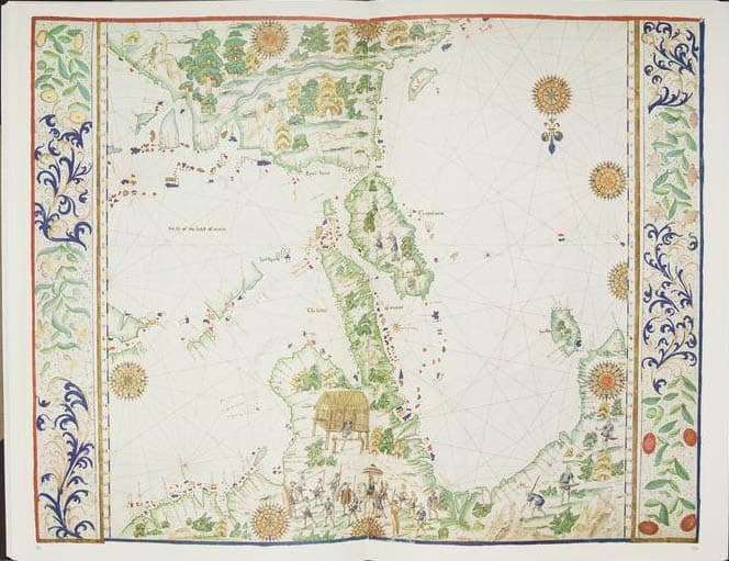 Map by Jean Rotz from his Boke of Idrography presented to Henry VIII of England in 1542. South is oriented at the top of the page.