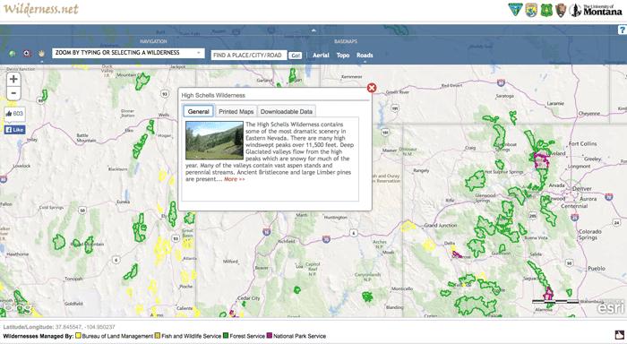 Wilderness.net's interactive map.