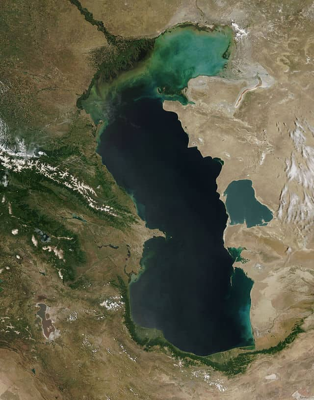 Satellite image of the Caspian Sea acquired by the Moderate Resolution Imaging Spectroradiometer (MODIS) on the Terra satellite on June 11, 2003.