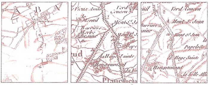 The far left map is the original hand-drawn map, which was used to make the two printed version on the right which were used by Napoleon and his army at Waterloo. In the original map, the Mont Saint-Jean farm is situated to the right of the road, while on the printed versions, the farm is shown as being to the left of the road.