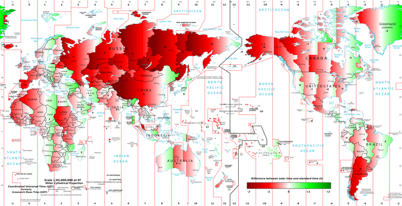 The gap between official time and solar time around the world. Map: Steffano Maggiolo.