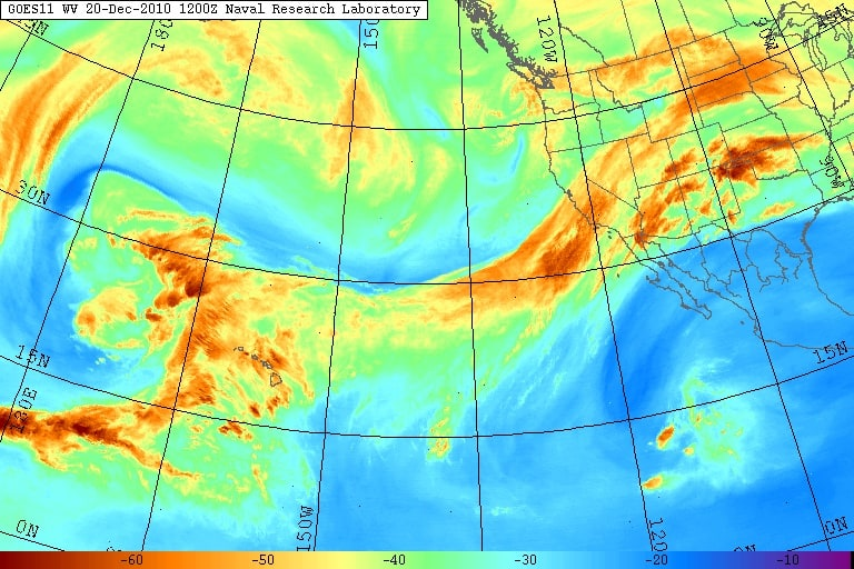 Water vapor imagery of the eastern Pacific Ocean from the GOES 11 satellite, showing a large atmospheric river aimed across California. Image from United States Naval Research Laboratory, Monterey. (Captured December 20, 2010).