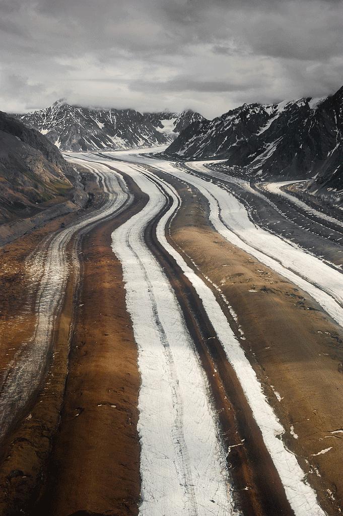 Medial Moraines of Barnard Glacier, Wrangell-St. Elias National Park & Preserve.  Photo: National Park Service.