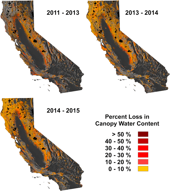Forest canopy water loss from 2011 to 2013, 2013 to 2014, and 2014 to 2015. Black areas indicate fire extents reported between 2011 and 2015 by the US Forest Service. From Asner et al, 2015.