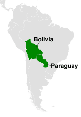 Map showing the location of Paraguay and Bolivia, the only two landlocked countries in South America.