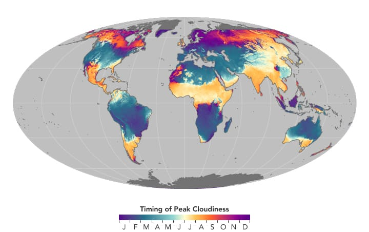 Map showing timing of peak cloudiness within a given year.