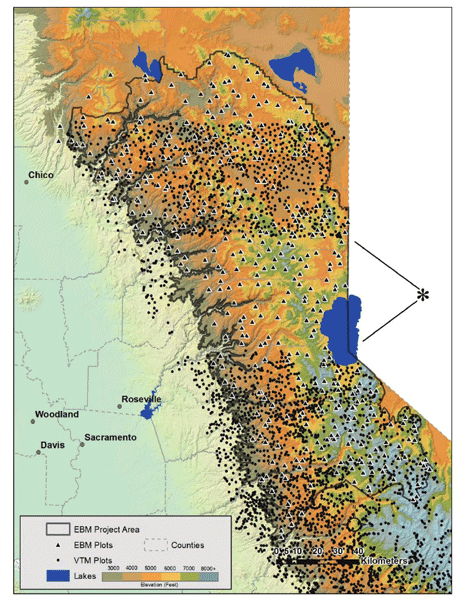 Map showing the study area in the northern Sierra Nevada ecoregion, California, USA, above 914 m elevation (3000 feet).