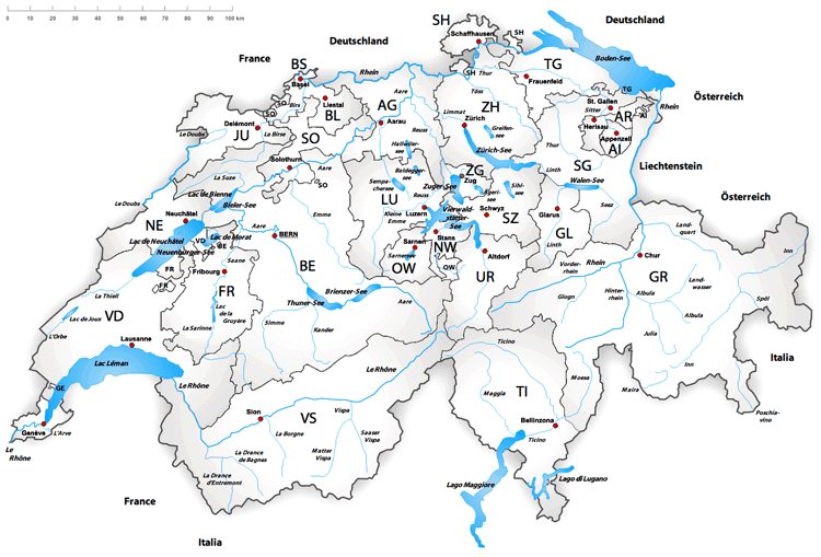 Map of Swiss lakes and rivers. Map: Karte Schweiz by Tschubby, under license C BY-SA 3.0, MediaWiki Commons.