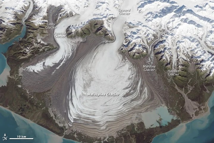 Malaspina Glacier. Image acquired September 24, 2014. Source: NASA.