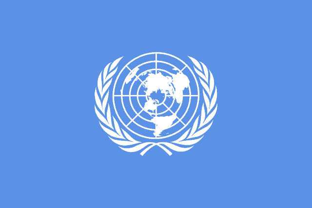First version of the emblem shown on the UN flag, April 1945.