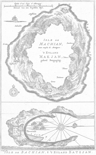 Click on the map for the coloring sheet of Makian and Bacan islands.