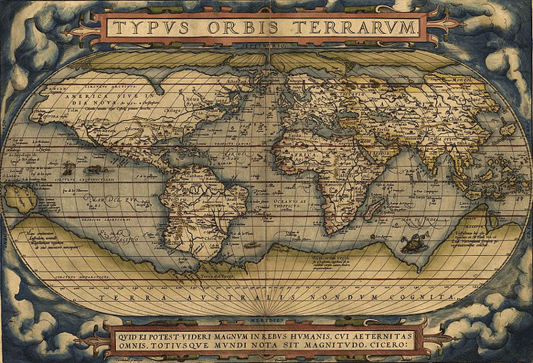 World map from Theatrum Orbis Terrarium, 1570.