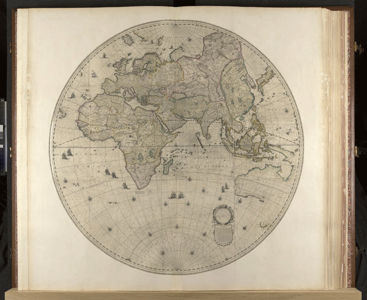 Map of Europe, Asia, and Africa from the Klencke Atlas, ~1660. Image: British Library.