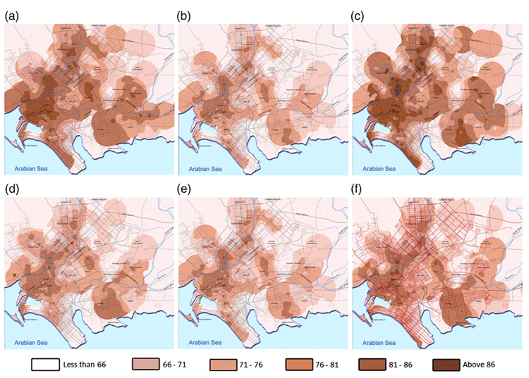 Spatial-temporal maps of Karachi, Pakistan road traffic noise (unit: dB): (a) weekday morning, (b) weekday afternoon, (c) weekday evening, (d) weekend morning, (e) weekend afternoon and (f) weekend evening. Source: Mehdi, Kim, Seong, & Arsalan, 2011.