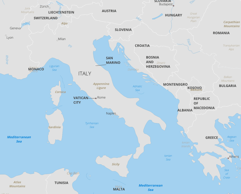 The Vatican and San Marino are landlocked countries surrounded by Italy.  Map made with Natural Earth data.