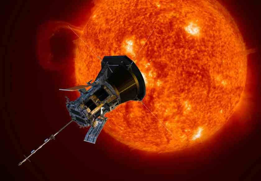 This illustration of NASA's Parker Solar Probe depicts the spacecraft traveling through the Sun's outer atmosphere. Humanity's first mission to a star, Parker Solar Probe is scheduled to launch July 31, 2018. Credits: JHU APL