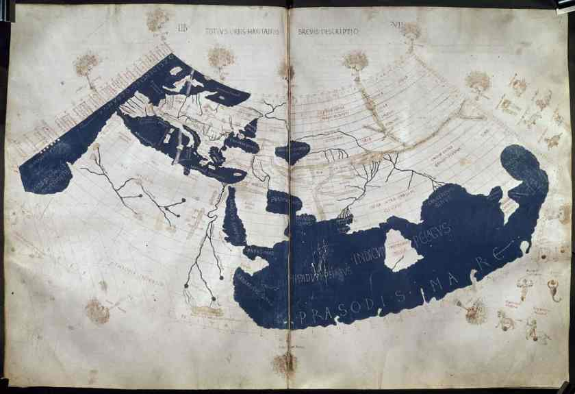 Ptolemy's Geographica, translated by Emanuel Chrysoloras and Jacobus AngelusHarley 7182 ff. 58v-59, 3rd quarter of the 15th century, British Library.