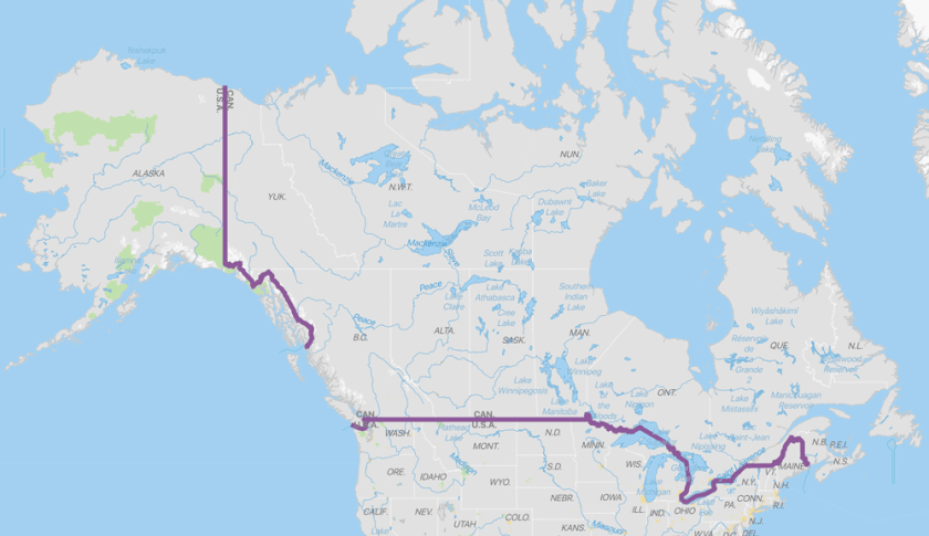 Map showing the international border between the United States and Canada. Data: Natural Earth